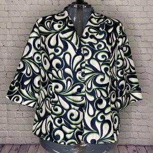 Dressbarn Blue/Green Elbow Length Sleeve Jacket